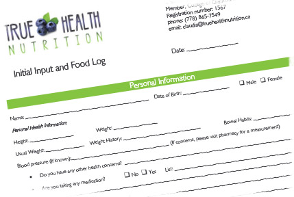 Initial Input and Food Log Form